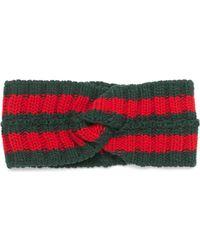 Gucci Fascia per capelli in lana con dettaglio Web - Verde