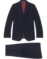 Gucci Traje de raya diplomática ajustado - Azul