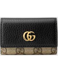 Gucci 【公式】 (グッチ)〔GGマーモント〕 レザー キーケースブラック レザー&GGスプリームベージュ
