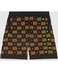 Gucci Shorts aus Jacquard mit GG Motiv und Sternen - Schwarz