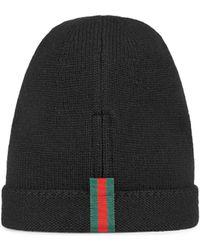 Gucci Mütze aus Wolle mit Webstreifen - Schwarz