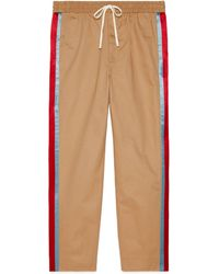 Gucci Cotton Drill Pants With Acetate Stripe - Natural