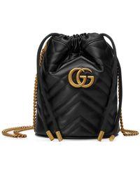 Gucci Mini borsa a secchiello GG Marmont - Nero