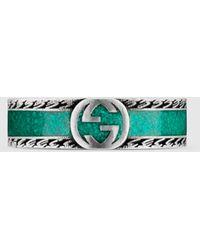 Gucci - グッチ公式インターロッキングg リングターコイズ エナメル&シルバーcolor_descriptionシルバー - Lyst