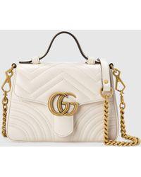 Gucci 【公式】 (グッチ)〔GGマーモント〕ミニ トップハンドルバッグホワイト レザー ホワイト