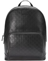 57120241ff7e Gucci Signature Leather Backpack in Blue for Men - Lyst