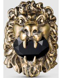 Gucci Ring mit Löwenkopf mit Swarovski Kristall - Mettallic