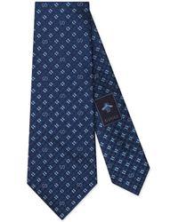 Gucci GG And Shamrocks Silk Tie - Blue