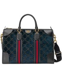 Gucci Mittelgroße Reisetasche aus Samt - Blau