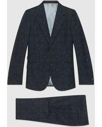 Gucci Anzug aus karierter Wolle mit körpernaher Passform und Bienen - Blau