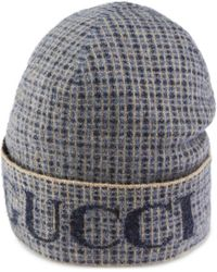 Gucci Wool Check Hat With - Gray