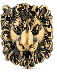 Gucci Ring With Lion Head - Metallic