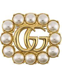 Gucci Spilla doppia g con perle - Metallizzato