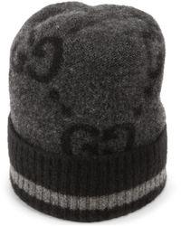 Gucci Mütze aus kaschmirstrick mit gg motiv - Schwarz