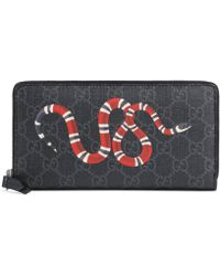 Gucci Kingsnake Print GG Supreme Zip Around Wallet - Black