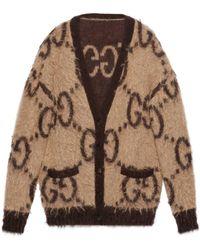 Gucci Cárdigan de lana de angora con GG reversible - Neutro