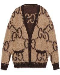 Gucci Reversible GG Mohair Wool Cardigan - Natural