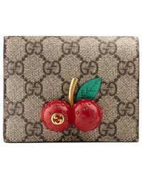 Gucci - Gg Supreme Card Case With Cherries - Lyst