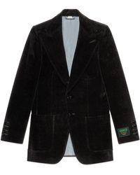 Gucci Chaqueta de terciopelo con etiqueta - Negro