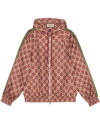 Gucci Veste en soie à imprimé GG Supreme - Rouge