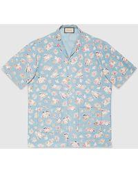 Gucci - オーバーサイズ プリント シャンブレー ボウリングシャツ - Lyst