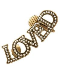 Gucci - Single Loved Pendant Earring With Pearls - Lyst