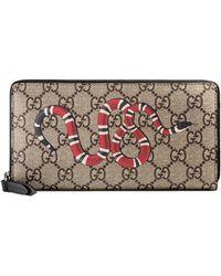 Gucci - Snake Print Gg Supreme Zip Around Wallet - Lyst