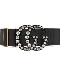 Gucci Elastic Belt With Crystal Double G Buckle - Black