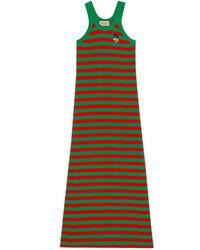 Gucci Vestido de punto de algodón a rayas - Rojo