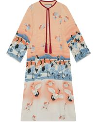Gucci Kaftan aus Seide mit Teich Print nur online - Pink
