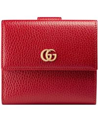Gucci Leather French Flap Wallet - Red