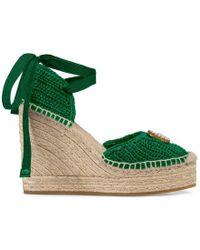 Gucci - Crochet Platform Espadrille - Lyst