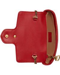 Gucci Mini Borsa Gg Marmont In Pelle Matelassé - Red