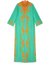 Gucci Linen Long Kaftan Dress With Lace - Green