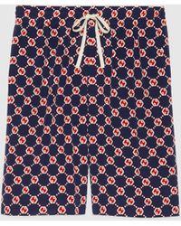 Gucci 【公式】 (グッチ)GGヘキサゴン シルククレープ ショートパンツブルー&レッドブルー
