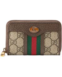 Gucci Ophidia GG Zip Around Card Case - Natural