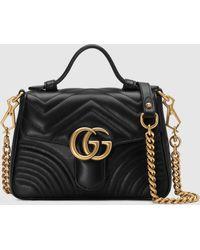 Gucci - グッチ公式〔GGマーモント〕ミニ トップハンドルバッグブラック シェブロン レザーcolor_descriptionレザー - Lyst