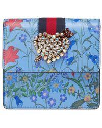 Gucci Totem New Flora Print Leather Clutch - Blue