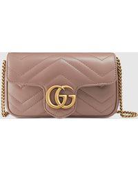 Gucci グッチ公式〔GGマーモント〕キルティングレザー スーパーミニバッグベージュ シェブロン レザーcolor_descriptionレザー - ピンク