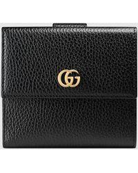 Gucci Brieftasche mit Überschlag aus Leder - Schwarz