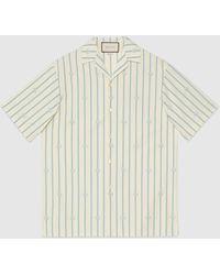 Gucci - 【公式】 (グッチ)ダブルg ストライプ コットン ボウリングシャツアイボリー/ライトブルー コットンホワイト - Lyst