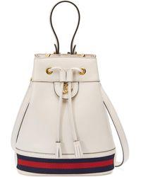Gucci Borsa a secchiello Ophidia misura piccola - Bianco