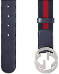 Gucci Web Belt With G Buckle - Red