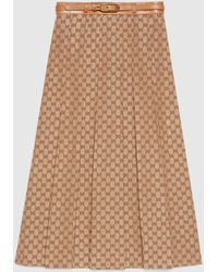 Gucci 【公式】 (グッチ)GGリネン キャンバス プリーツスカートブリックレッド&ベージュベージュ - マルチカラー