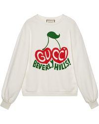 """Gucci """"beverly Hills"""" Cherry Print Sweatshirt - White"""