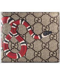 Gucci Portemonnaie aus GG Supreme mit Kingsnake Print - Natur