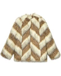 Gucci Faux Fur Jacket With Chevron Intarsia - Brown