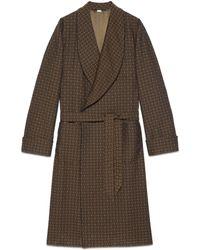 Gucci GG Rhombus Jacquard Coat - Brown