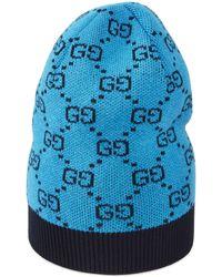 Gucci GG Multicolor Mütze aus Wolle und Baumwolle - Blau