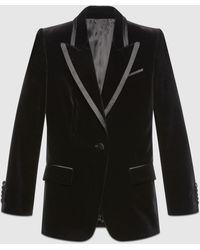 Gucci 【公式】 (グッチ)ベルベット シングルブレスト ジャケット ブラックブラック